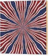 American Flag Kaleidoscope Abstract 6 Wood Print
