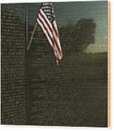 American Flag Left At The Vietnam Wood Print by Medford Taylor