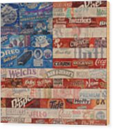 American Flag - Made From Vintage Recycled Pop Culture Usa Paper Product Wrappers Wood Print
