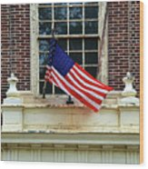 American Flag On An Old Building Wood Print