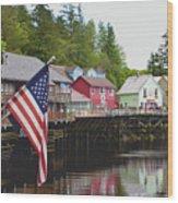 American Flag On Creek Street Ketchikan Alaska Wood Print