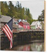 American Flag On Creek Street Ketchikan Alaska Painting Wood Print