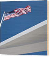 American Flag Over Pearl Harbor Wood Print