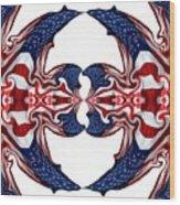 American Flag Polar Coordinate Abstract 1 Wood Print