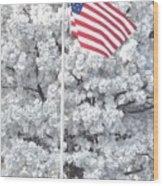 American Flag Snow  Wood Print