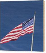 American Flag Waving In The Breeze Wood Print