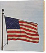 American Flag Waving Proudly- Fine Art Wood Print