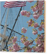 American Flag With Cherry Blossoms Wood Print
