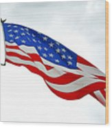 American Flag With Eagle Wood Print
