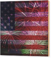 American Flag With Fireworks Display Wood Print