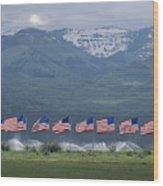 American Flags Honoring Veterans Wood Print by James P. Blair