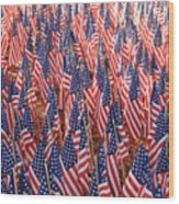 American Flags In Tampa Wood Print