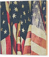 American Flags Painted Square Format Wood Print