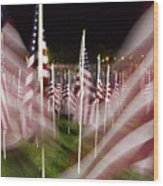 American Flags Tribute To 9-11 Wood Print
