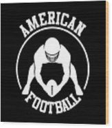 American Football Player With Ball And Helmet Wood Print