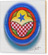 American Happiness Button Wood Print
