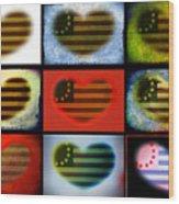 American Hearts Wood Print