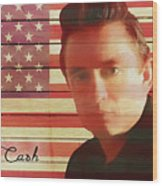American Icon Johnny Cash Wood Print