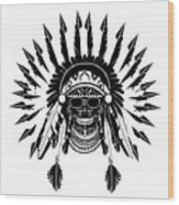 American Indian Skull Icon Background, Black And White  Wood Print