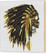 American Indian Skull Icon Background Wood Print