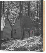 American Little House In The Woods Wood Print