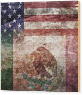 American Mexican Tattered Flag  Wood Print
