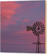 American Old Farm Water Pumping Windmill With A Sunset  Wood Print