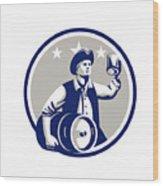 American Patriot Carry Beer Keg Circle Retro Wood Print