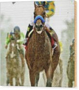 American Pharoah And Victor Espinoza Win The 2015 Preakness Stakes. Wood Print