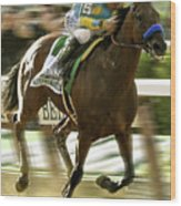 American Pharoah And Victory Espinoza Win The 2015 Belmont Stakes Wood Print