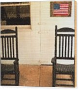 American Porch Wood Print