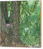 American Pride By The Pond Wood Print