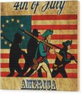 American Revolution Soldier Vintage Wood Print by Aloysius Patrimonio