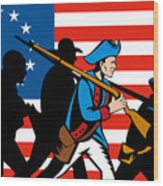American Revolutionary Soldier Marching Wood Print