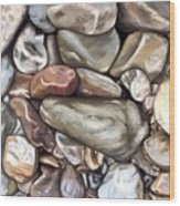 American River Rocks Wood Print