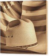 American Rodeo Cowboy Hat Wood Print