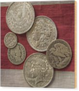 American Silver Coins Wood Print by Randy Steele