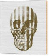American Skull Beige Wood Print