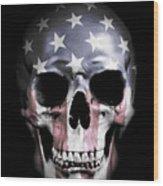 American Skull Wood Print