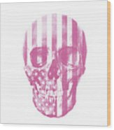American Skull Pink Wood Print
