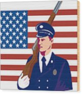 American Soldier Flag Wood Print by Aloysius Patrimonio