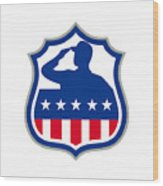 American Soldier Saluting Usa Flag Crest Icon Wood Print