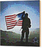 American Soldier With Flag Wood Print