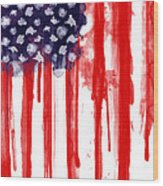 American Spatter Flag Wood Print