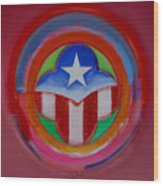 American Star Button Wood Print