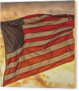 American Sunset On Fire Wood Print