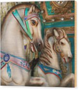 Americana - Carousel Beauties Wood Print