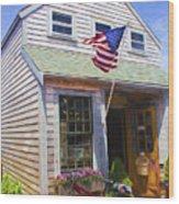 Bike And Usa Flag - Americana Series 04 Wood Print