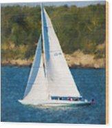 America's Cup 12 Meter Sailboat Newport Ri Wood Print