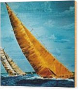 Americas Cup Sailboat Race Wood Print